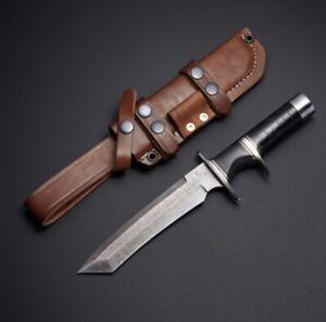 BEAUTIFUL CUSTOM HAND MADE DAMASCUS STEEL BOWIE KNIFE HANDLE BALCK RESIN