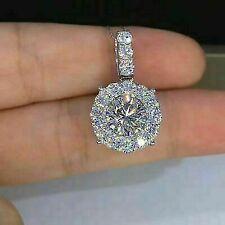 2Ct Round-Cut Moissanite Beautiful Halo Pendant Necklace 14K White Gold Finish