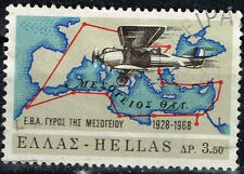 Greece Aviation Plane Map stamp 1968