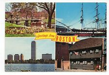 Greetings From Boston, Ma., Vintage 4 x 6 Postcard, Jul