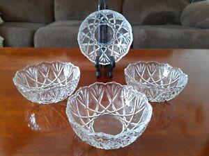"Crystal Glass Serving Berry Dessert Bowls Ice Cream Dish Set Of 4 Tulip Rim 5"""
