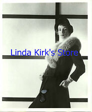 Vintage Fashion Model Wearing Coat With Fur Gloves & Hat 1950s B&W 8x10