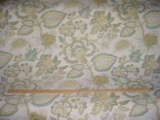 3-7/8Y SCHUMACHER MOSS / WHITE  JACOBEAN FLORAL BROCADE UPHOLSTERY FABRIC