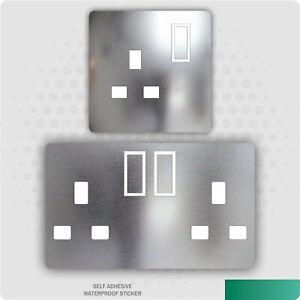 Chrome Metal Effect UK Plug Socket Stickers Kids Bedroom Living Room Decor
