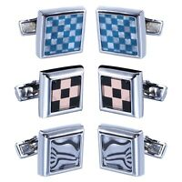6PCS Cufflinks Shirt Men Square Plaided Silvertone Cuff-Links Jewelry Gift Set