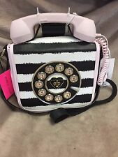 NEW BETSEY JOHNSON Retro Telephone Crossbody Bag Purse Pink Black White Stripe