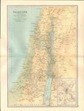 1890 ANTIQUE MAP - PALESTINE ILLUSTRATING THE OLD AND NEW TESTAMENTS, JERUSALEM