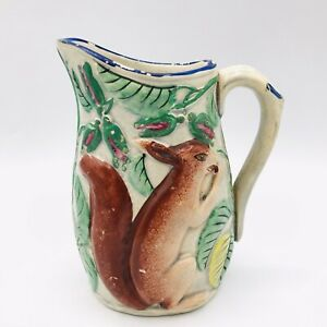 """Antique Small Hand Painted Majolica Pottery Creamer Pitcher Squirrel Unmarked 5"""""""