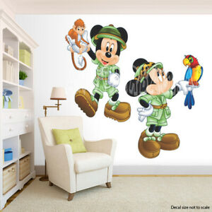 Safari Mickey Mouse and Minnie Mouse Room Decor -  Wall Decal Removable Sticker