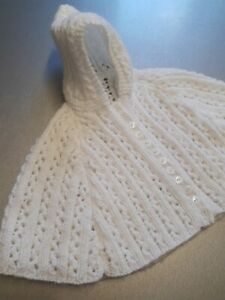 HANDMADE BABY CARDIGAN HOODED CAPE 3 MONTHS WHITE