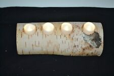 White Birch Reclaimed Wood Log Tealight Candle Holder Bark Removed Rustic Decor