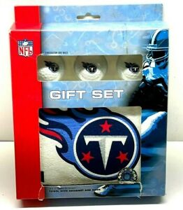 """Tennessee Titans New Golf Gift Set - 3 Logo Balls & 25"""" x 16"""" Towel Official NFL"""