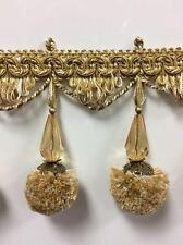 3 Crystal Beaded Fringe Trim CBF-19//12 Antique Gold Sold by The Yard