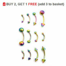 Curved Barbell Eyebrow Bar Banana Surgical Steel 16G 14G Sizes Anodized RAINBOW