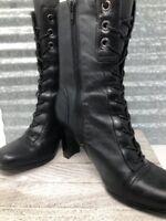 Elditas Leather Women Black Lace Up Calf Boot  Kristen Square Cap Toe Shoe Sz 8