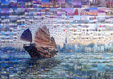 Hong Kong Landscape Collage Art Large Poster Print - A0 A1 A2 A3 A4 Sizes