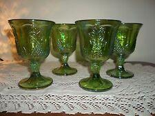 GREEN CARNIVAL HARVEST GRAPE INDIANA GLASS GOBLETS