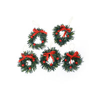 1:12 DollHouse Christmas Garland Decoration With Red Bow DIY Home Decor G GT