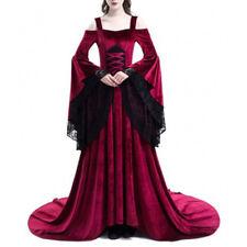 Women Medieval Renaissance Bell Sleeve Queen Gown Cosplay Costume Maxi Dress