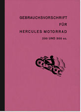 Hercules 200 300 ccm Bedienungsanleitung Handbuch Betriebsanleitung Manual 1930
