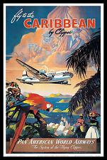Caribbean Cliper FRIDGE MAGNET 6x8 Pan Am Vintage Travel Poster Kitchen Magnet