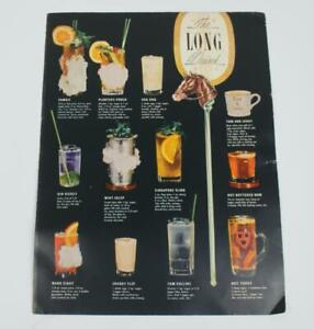 """Vintage Esquire's Cocktails """"The Long Drink"""" Pamphlet Mixed Drink Bar Recipes"""