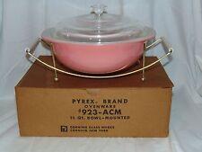 Pyrex PINK BUBBLE GUM *1 QT ROUND CASSEROLE w/CRADLE & ORIGINAL BOX*