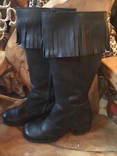 Pour Femme Franges Pampilles Noir Genou Bottes talon bottier zip 3-8 nouveau