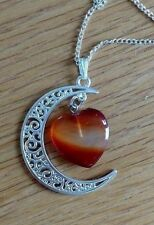 Red agate heart & moon pendant silver plated necklace infused with Reiki energy