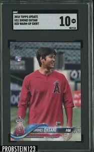 2018 Topps Update Shohei Ohtani Red Warm-Up Shirt RC Rookie SGC 10
