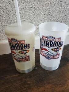 Denver Broncos Super Bowl XXXII Set Of 2 Commemorative Plastic Cups with Straw