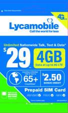 Lycamobile $29 Plan 1st Month Free Triple Cut SIM Card 4G Unlimited Talk & Text