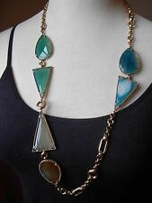"Stephen Dweck  Sliced Agate Quartz Bronze Figaro Necklace 32""  895.00 New"
