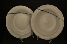 Denby White Urban Pattern Salad Plate with Blue stripe Set of 2  New with Tags