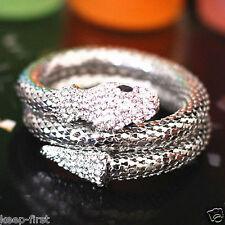 Punk Style Rhinestone Snake Curved Chunky Stretch Crystal Bangle Bracelet Silver
