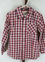 The Children's Place Toddler Boys Red Plaid Long Sleeve Button Down Shirt Sz 4T