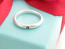 Auth Tiffany & Co Silver Blue Sapphire Peretti Stacking Ring Band Size 6