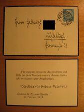 1933 Antwort auf Kondolenz Admiral Hubert von Rebeur Paschwitz Marine