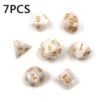 White Polyhedral Dice For DND RPG MTG Board Games Cream Supplies Set Kit 7pcs