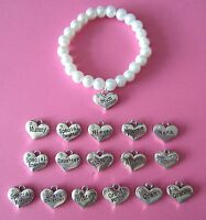 Rhinestone Heart Relative Name Silver Bracelet - 17 Choices - New in Gift Bag