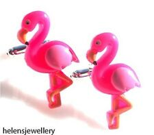 GORGEOUS HANDMADE CUTE PINK FLAMINGO CUFFLINKS + FREE GIFT BAG