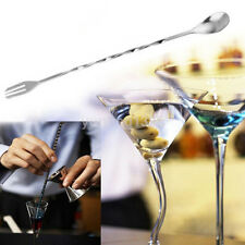 Useful Stainless Steel Bar Cocktail Twist Mixing Stirrin Spoon Fork DIY Set Gift