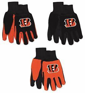 NFL Cincinnati Bengals No Slip Gripper Utility Work Gardening Gloves NEW!