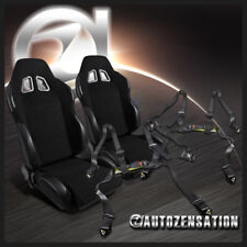 Black PVC Leather Reclinable Racing Bucket Seats+4PT Camlock Seat Belt Harness