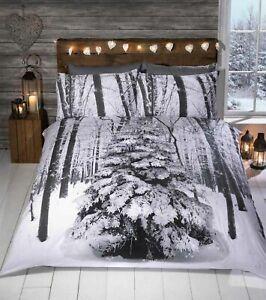 Winter Sparkle Glitter Tree Christmas Duvet Quilt Cover Bedding Set Pillowcases