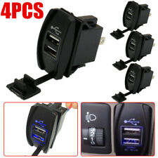 4X 3.1A Dual LED USB Car Auto Power Supply Charger Port Socket Waterproof 12-24V