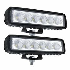 2x 6Inch 18W LED Work Light Bar Flood Offroad Driving Fog ATV SUV UTV 4WD Marine