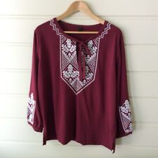 J Crew Womens Medium Top Burgundy Embroidered Boho Knit Blouse