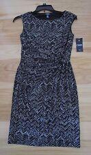 Womens CHAPS Sleeveless Faux Wrap Dress  Black / Cool Cream Print  Size M NWT