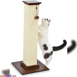 "AmazonBasics Large Premium Tall Cat Scratching Post - Wood Base - 36"" Dangle Toy"